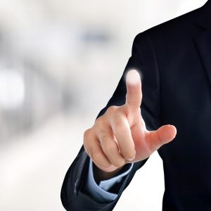 businessman hand touching